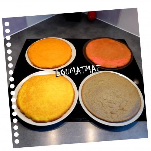 gâteaux colorés pour assembler le gâteau damier