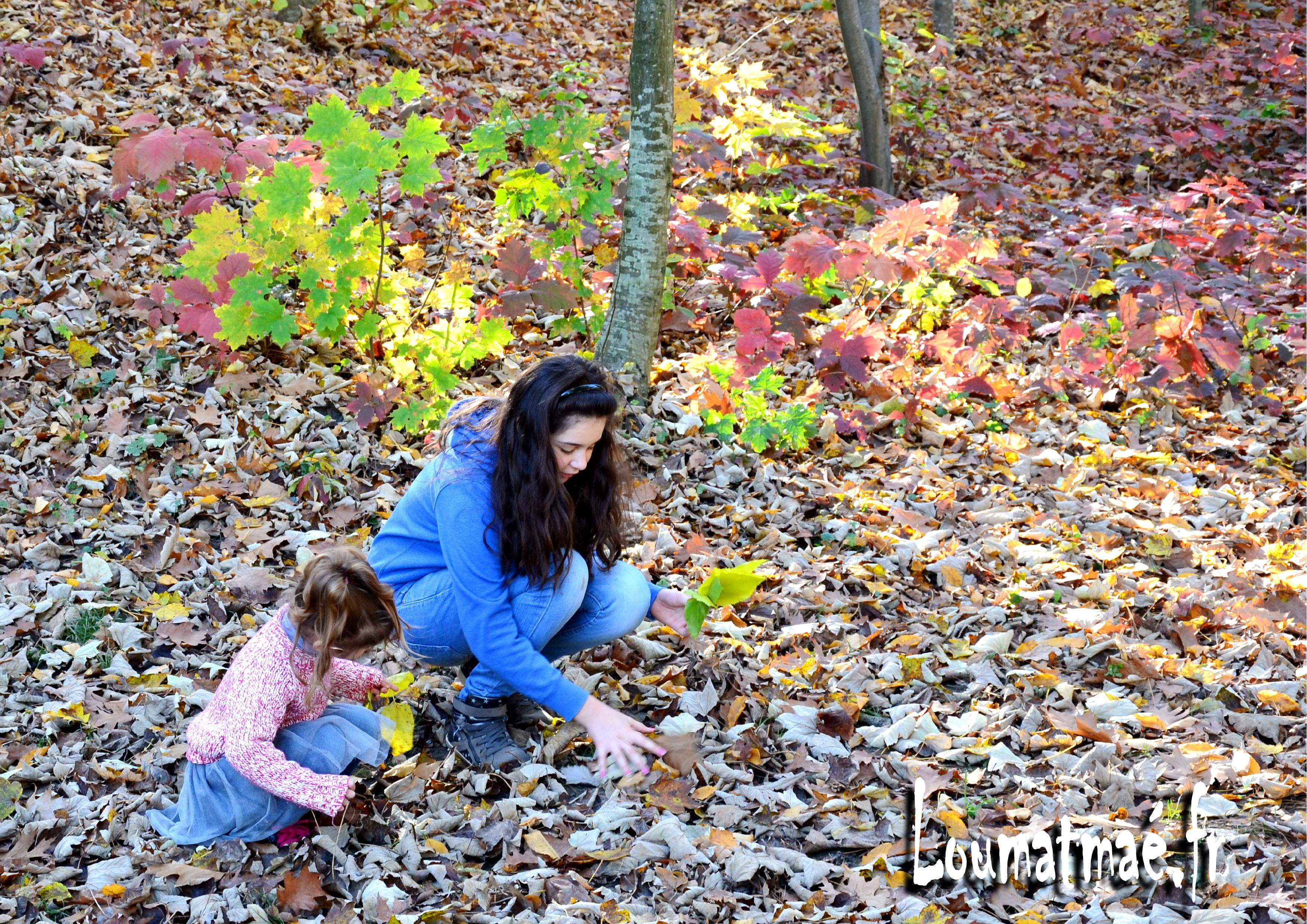 jeu dans les feuilles d'Automne
