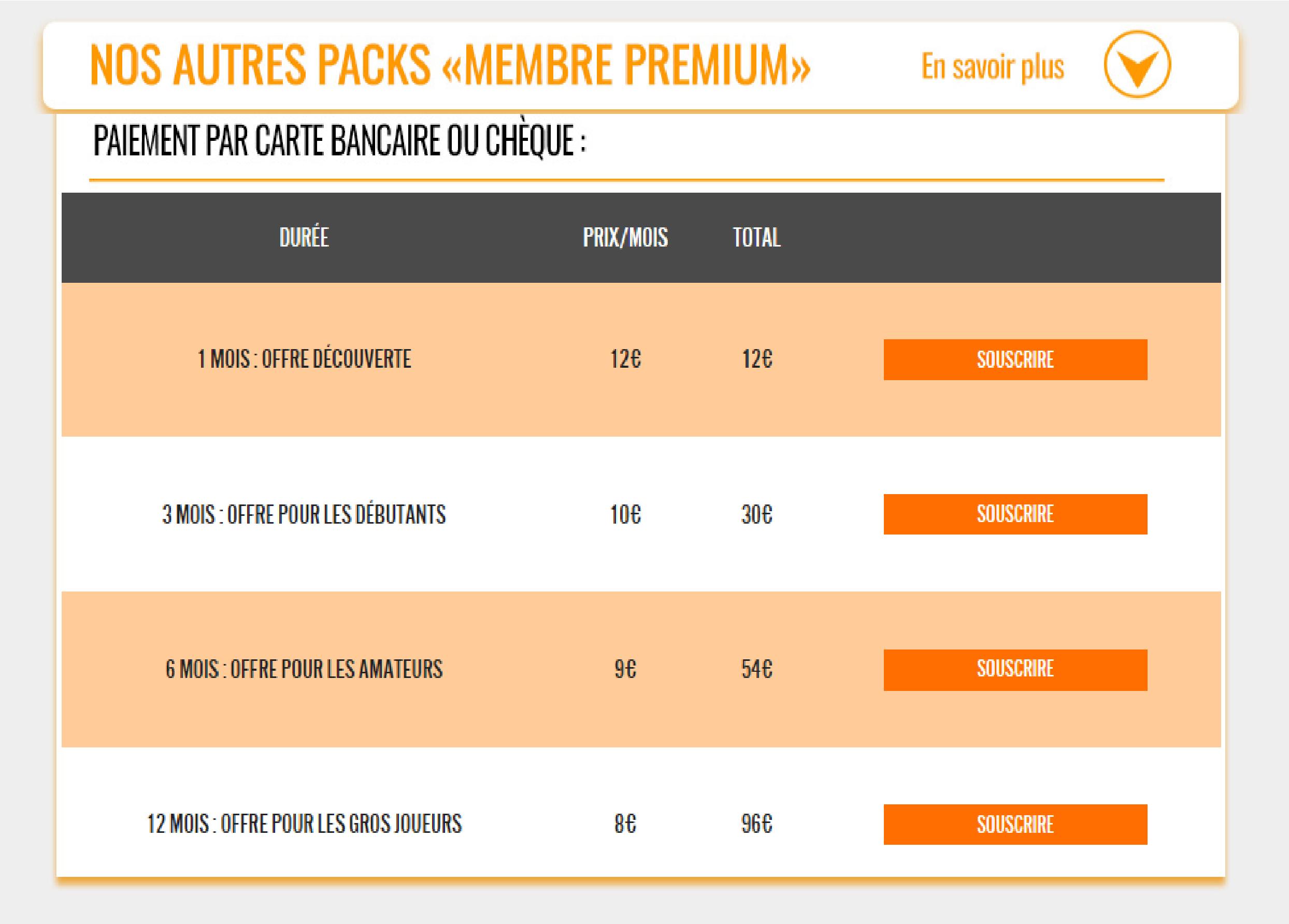 packs membres premium