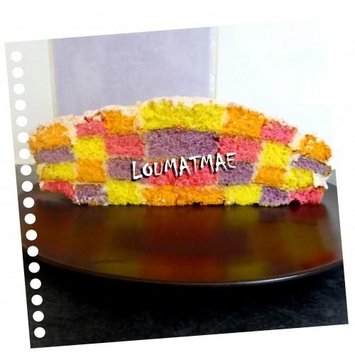 gâteau damier aux 4 couleurs
