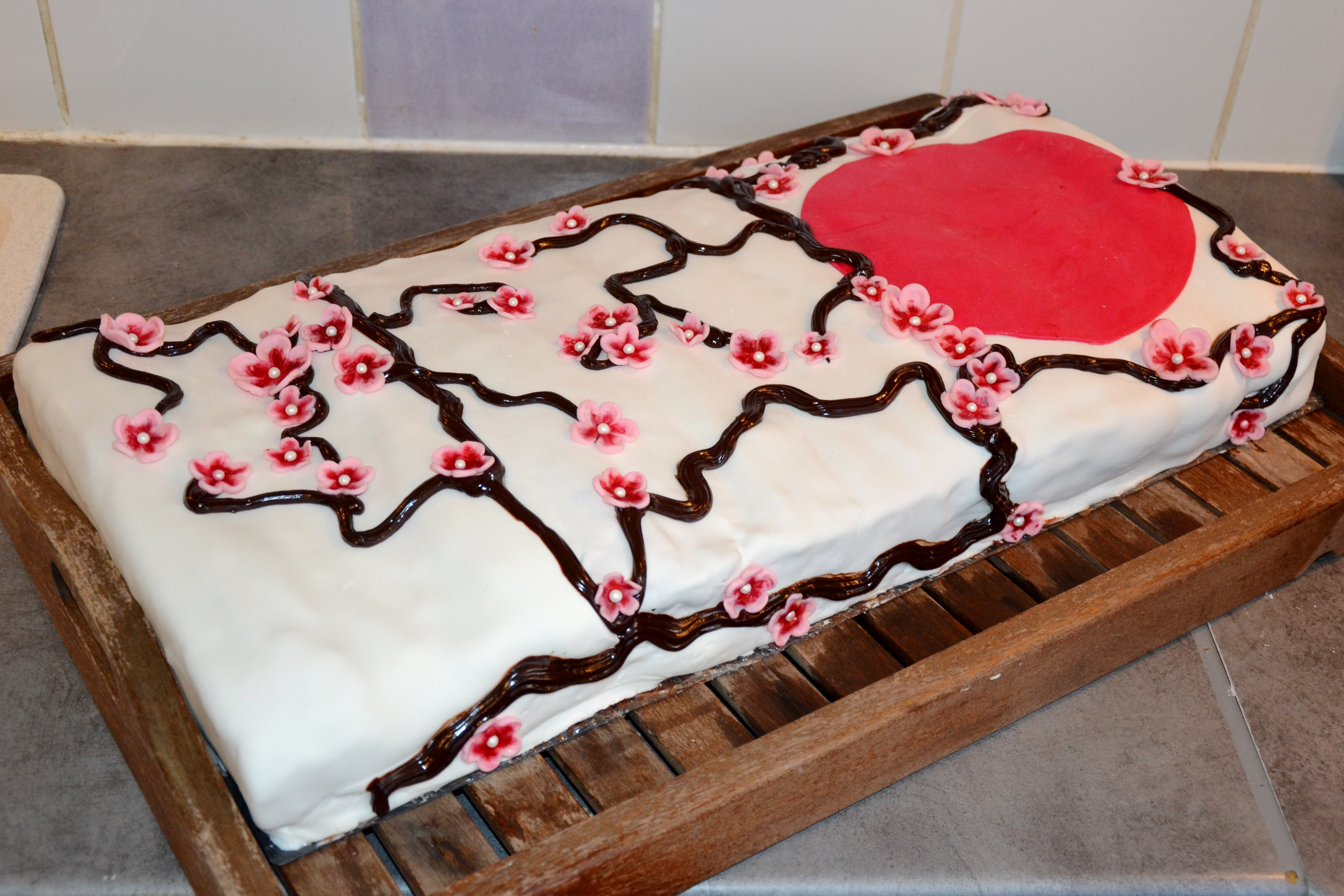 Gâteau thème Japon fleurs de cerisiers