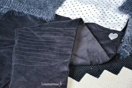 pantalon velour gris anthracite Stockomani